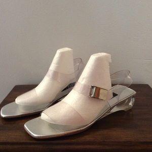 Stewart Weitzman clear strap mini heels size 8.5